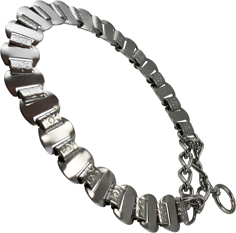 Metal Plates Martingale Dog Collar 3mm Link Chrome (14.5 16.5 )