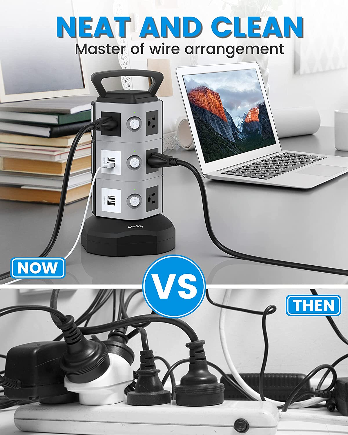 Surge Protector Power Strip Tower - SUPERDANNY 3000W 13A with 4.2A 4 USB Slot 10 Outlets 16AWG 6.5ft Heavy Duty Cord Wire Extension Electric Charging Station Universal Socket for Home Office Dorm