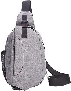 SODIAL Chest Bag Men's School Bag For Teenagers Men Outdoor Travel Bags Large Capacity Shoulder Crossbody Bag Grey