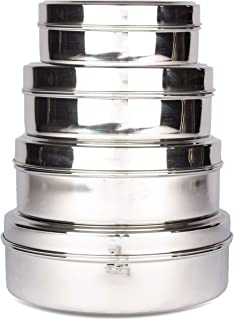 Cratus 23 Gauge Stainless Steel Puri Dabba Storage Containers Set of 4Pcs (300 ml,450 ml,700 ml,1000 ml)