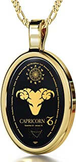 Capricorn Necklace Zodiac Pendant for Birthdays 22nd December to 19th January with Star Sign Constellation and Personality Characteristics Inscribed in 24k Gold on Oval Black Onyx Gemstone, 18
