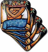 3dRose Paul Honatke Flower Girl Mexican Art Colorful Coaster, Soft, Set of 8