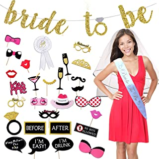 Bachelorette Party Decorations Kit. Ultimate Bridal Shower Supplies Pack, 36 Piece Bride To Be Package. Bride Sash, Veil, Badge, Banner, Photo Booth Props by Scapa Pro