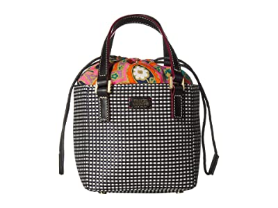 Frances Valentine Moxy Dot Jacquard Small Top-Handle Tote (Black/White) Handbags