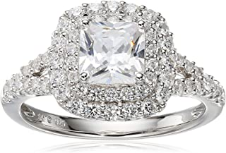 Sterling Silver Cubic Zirconia Octagon Frame Ring, Size 7