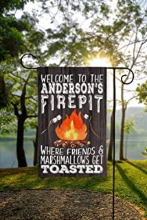 Dozili Personalized Garden Flag Garden Flag Firepit Flag Campfire Flag Fire Pit Flag Firepit Welcome Sign Welcome to Our Firepit Fire Pit