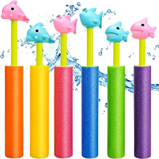 balnore Water Guns, 6PCS Animal Figures Pool Noodles Toys,Shoots Up to 35 Ft, Summer Beach Toys for Kids, Outdoor Water Toys for Kids Boys Girls Adults