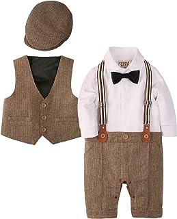 ZOEREA 3 pcs Bébé Garçon Vêtements Définit Combinaisons Barboteuse + Gilet + Chapeau Costume Manteau Gentleman en Coton de...