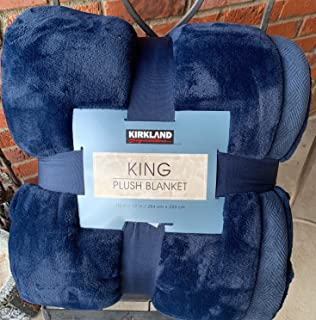 Navy Blue Kirkland King Plush Blanket 112 x 92 inches Super Sized Over 10,000 Square inches