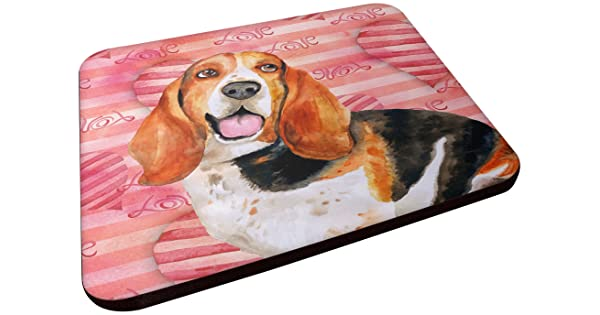 Multicolor Carolines Treasures BB9791FC Basset Hound Love Decorative Coasters