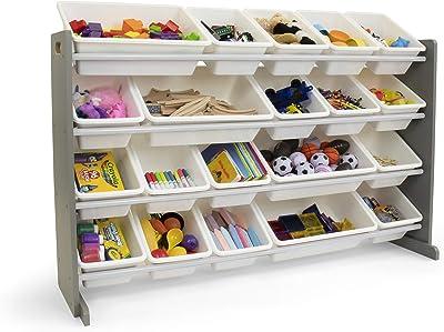 Humble Crew Extra-Large Kid's Toy Organizer, 20 Storage Bins, Universal, Grey/White