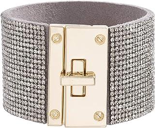 Steve Madden Rose Gold Tone Pink Rhinestone Lock Design Wrap Bracelet For Women