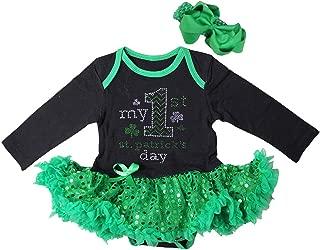 Baby 1st ST Patrick's Day Green Sequin Bodysuit Tutu & Headband