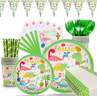 106 Pieces Dinosaur Party Supplies Pack Disposable Tableware Serves 12 Birthday Party Decoration Set Value Pack Napkins Pl...