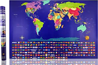Illuminate Atlas™ - #1 Scratch Off World Map - Perfect for Traveler Men and Women - Best 23x32 Large Poster Wall Map Atlas - US States and Adventure Travel Flags - Limited Edition