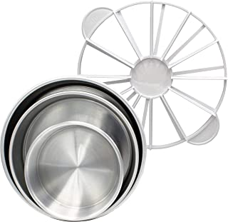 Tiger Chef Cake Pan Set and Cake Slicer: Includes 3 Round Cake Baking Pans - 6 inch, 8 inch and 9 inch Aluminum Pans and Cake Slicer Marker