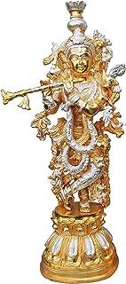 Brass Gift Center Krishna Statue in Gold and Silver Finish Showpiece - 54 cm (Brass Yellow Silver)