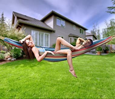 Sorbus Brazilian Double Hammock - Extra-Long Two Person Portable Hammock Bed for Indoor or Outdoor Spaces - Hanging Rope, Car