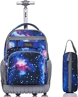 Rolling Backpack 18 Inch with Pencil Case School for Boys Girls, Galaxy