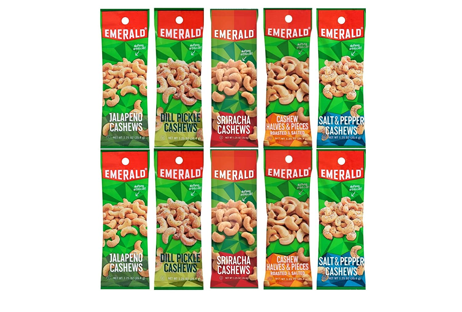 Emerald Snacks Flavored Cashews Variety Bundle - Assortment Featuring Dill Pickle, Jalapeno, Salt & Pepper, Sriracha and Roasted & Salted