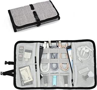 Patu Roll Up Folding Travel Organizer Case for Cables, Memory Cards, Flash Disks, Earphones, Portable Hard Drives, Power Banks or Adapters, or Other Small Electronics and Accessories, Gray