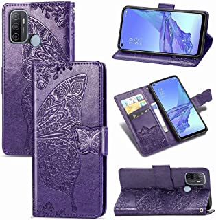 Funadd Cellphone Protective Case, Compatible for OPPO A53 2020 Butterfly Love Flower Embossed Horizontal Flip Leather Case...