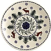 Polish Pottery Christmas Tree Reindeer Moose Salad Plate, 7-Inch