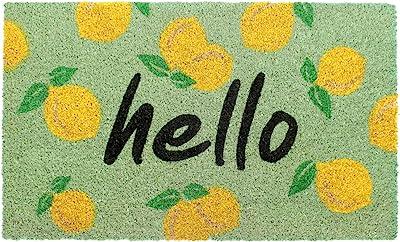 "Rugsmith Multi Hello Mangoes Machine Tufted Doormat, 18"" x 30"", Bleach"