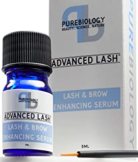 Pure Biology Eyelash Growth Serum & Eyebrow Enhancer – Biotin, Green Tea, Panax Ginseng, Natural DHT Blockers & Breakthrough Hair Growth Stimulating Complex – Men & Women – Applicators Incl.