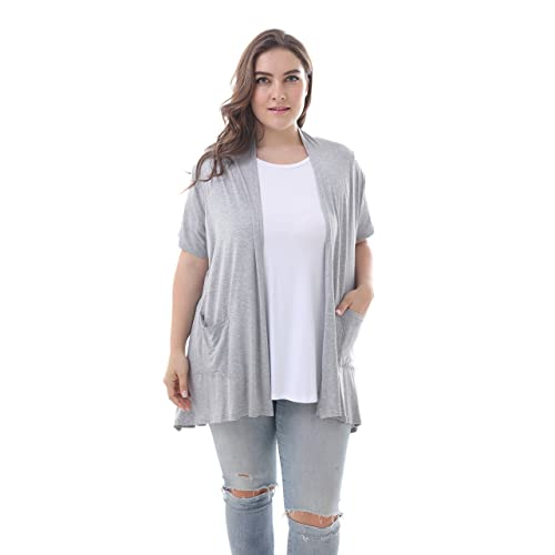 d77f2c10061 ZERDOCEAN Women s Plus Size Short Sleeve Lightweight Soft Printed Drape  Cardigan with Pockets