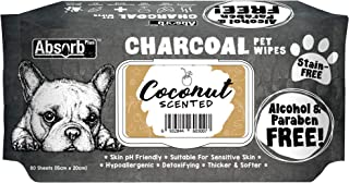 Absorb Plus Charcoal Pet Wipes 80 Sheets, Coconut