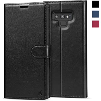 KILINO Galaxy Note 9 Wallet Case [S-Pen Fully Compatible] [PU Leather] [Soft TPU] [RFID Blocking] [Shock-Absorbent Bumper] [Card Slots] [Kickstand] Flip Folio Cover for Samsung Galaxy Note9 - Black