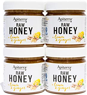 Apiterra - Raw Honey Infused with Ginger and Lemon 100% Pure and Natural - 32 Ounce, 4 Count