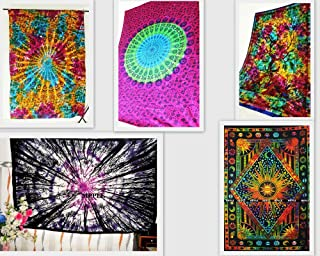 Future Handmade Wholesale 5 Twin Tapestries Wall Hanging Psychedelic Mandala Tapestry Beach Throw Jungle Tree of Life Tapestry Sun Moon and Stars Bedspreads