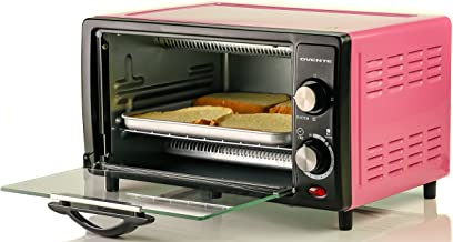 Ovente Countertop Toaster Oven with Timer, 800-Watts, 10-Liter Capacity, Includes Removable Baking Pan/Drip Tray, Pink (TO5810P)