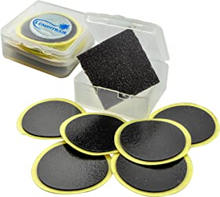 Lumintrail Glueless Bike Tire Patch Kit w/ 6 Adhesive Bicycle Tube Puncture Repair Patches, 1 Sandpaper, 1 Portable Case (1-100 Packs)
