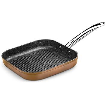 Monix Copper - Grill con rayas 28 x 28 cm de aluminio forjado con antiadherente con partículas de titanio, aptas para todo tipo de cocinas, incluso inducción, color cobre: Monix: Amazon.es: Hogar