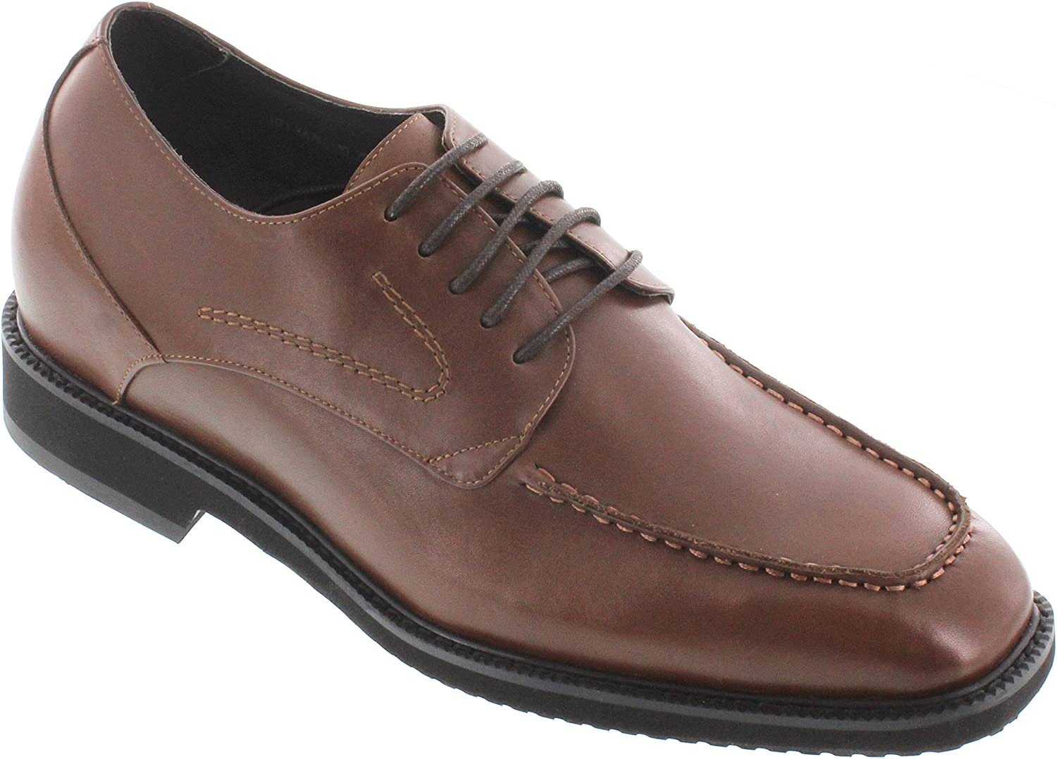 TOTO Men's Invisible Height Increasing Elevator Shoes - Dark Brown Leather Lace-up Formal Oxfords - 2.8 Inches Taller - X67011