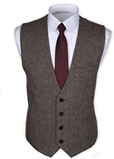 Ruth&Boaz 3Pockets 4Buttons Wool Herringbone/Tweed Tailored Collar Suit Waistcoat