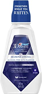 Crest 3D White Luxe Diamond Strong Anticavity Fluoride Clean Mint Whitening Mouth Rinse 473mL, (Pack of 6)