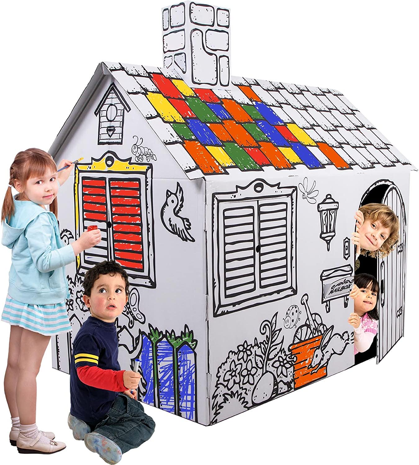 Kucuk Mimar KartonKinder XLarge Cardboard Playhouse, Build, Colour and Play