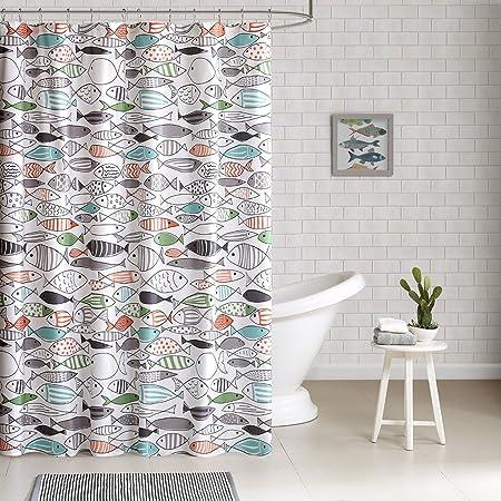 Amazon Com Hipstyle Sardinia Modern Multi Color Fish Cotton Printed Designer Shower Curtain 72 X 72 Machine Washable Home Kitchen