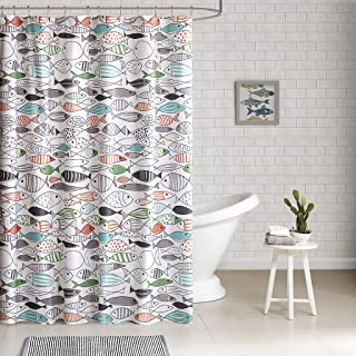 HipStyle - Sardinia - Modern Multi-color Fish - Cotton Printed - Designer Shower Curtain - 72