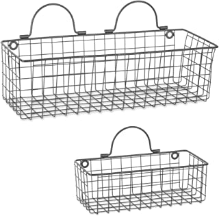 DII Farmhouse Vintage Hanging Wall Mounted Wire Metal Basket for Kitchen, Office, Bathroom, Mudroom, Entryway, Laundry Room, Set of Assorted 2 - Gray
