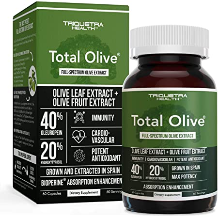 Total Olive, Olive Leaf Extract (40% Oleuropein) Plus Olive Fruit Extract (20% Hydroxytyrosol) Grown & Extracted in Spain, DNA Verified, Max Strength - Immunity, Cardiovascular, Brain (60 Count)