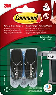 Command 17065S-AWES Outdoor Medium Stainless Steel Toggle Hooks, 2 lb. Capacity, Water-Resistant Adhesive, 2-Hooks, 3-Strips