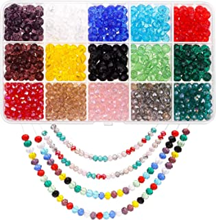 Crystal Beads for Jewelry Making, Paxcoo 900Pcs Crystal Glass Beads Jewelry Beads Briolette Rondelle Shape Beads for Jewelry Making