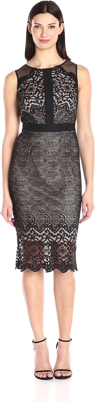 Jax Womens Sleeveless All Over Lace Midi Sheath Dress
