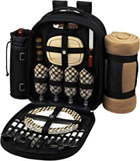 Picnic at Ascot Original Equipped 4 Person Picnic Backpack with Cooler, Insulated Wine Holder & Blanket - Designed & Assembled in USA