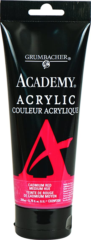 Grumbacher Academy Acrylic Paint, 200ml/6.8 oz. Plastic Tube, Cadmium Red Medium Hue (C029P200)